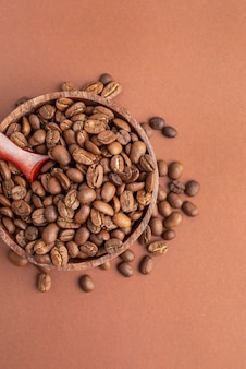 コーヒー豆のトップビューボウル