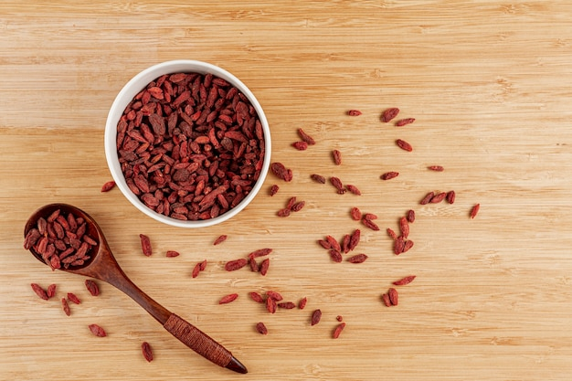 Top view bowl with dried goji berries