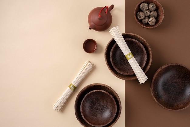 Top view bowls and chopsticks