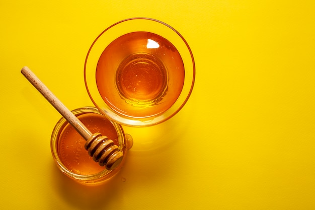 Top view bowls filled with tasty honey