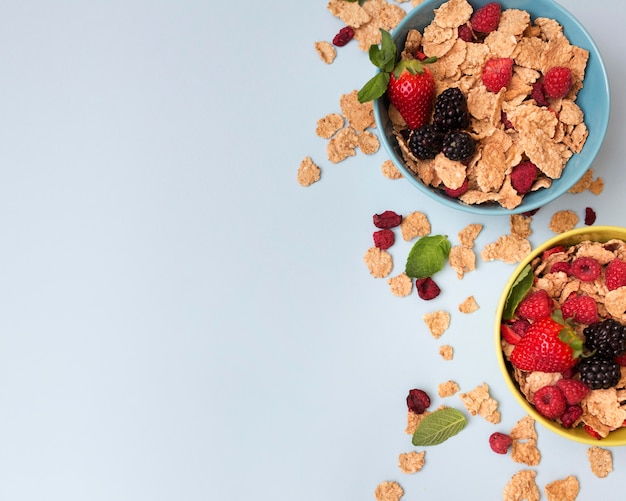 Top view bowls of fruit and cereals