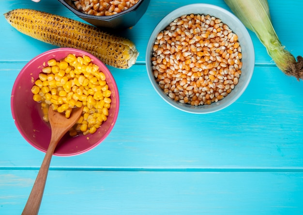 Top view of bowls full of cooked and dried corn seeds with corn cobs on blue surface