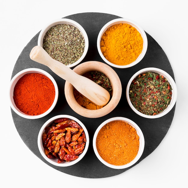 Top view bowls with spices