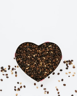 Top view of box of coffee beans