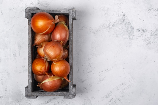 Top view of a box of onions on white marble background