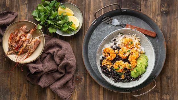 Top view brazilian food on plate