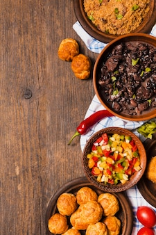 Top view brazilian food with copy space