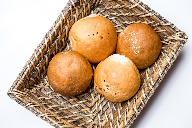 Top view bread buns in a basket