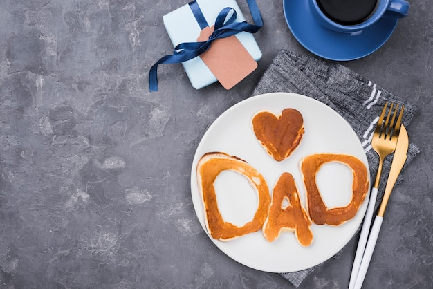 Top view bread letters for father's day