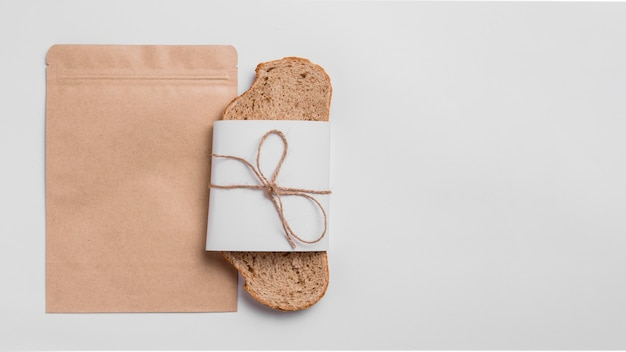 Top view bread slice with packaging and copy space
