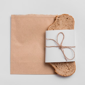 Top view bread slice with packaging