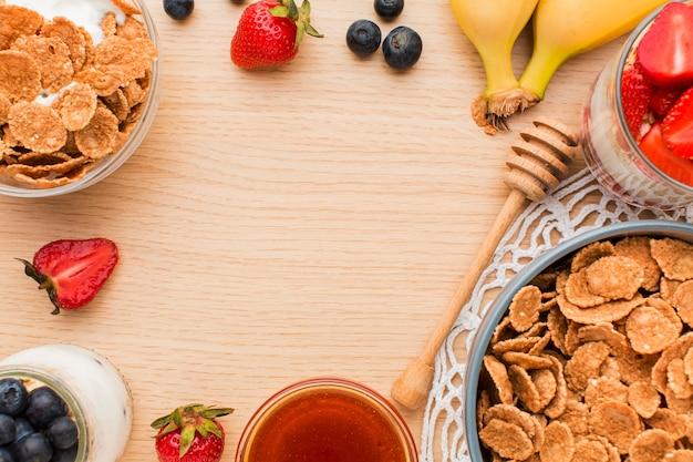 Top view breakfast concept