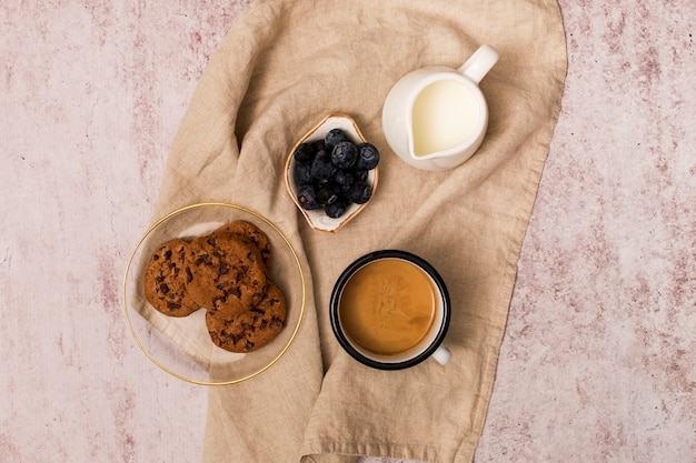 Top view of breakfast elements
