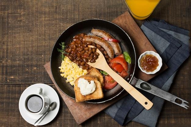 Top view breakfast frying pan