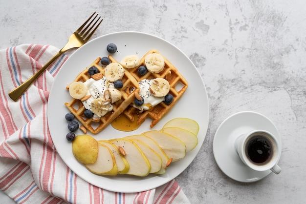 Top view breakfast meal arrangement