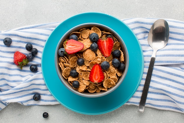 Top view breakfast with cereals