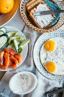 Top view of breakfast with egg, salmon, avocado, cucumber, and grilled bread with cream cheese. home made food. norway breakfast.