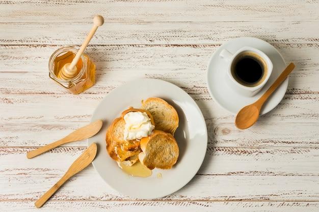 Top view breakfast with honey