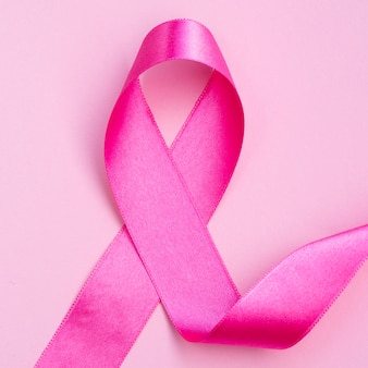 Top view breast cancer concept with ribbon