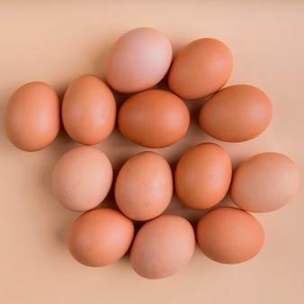 Top view brown eggs