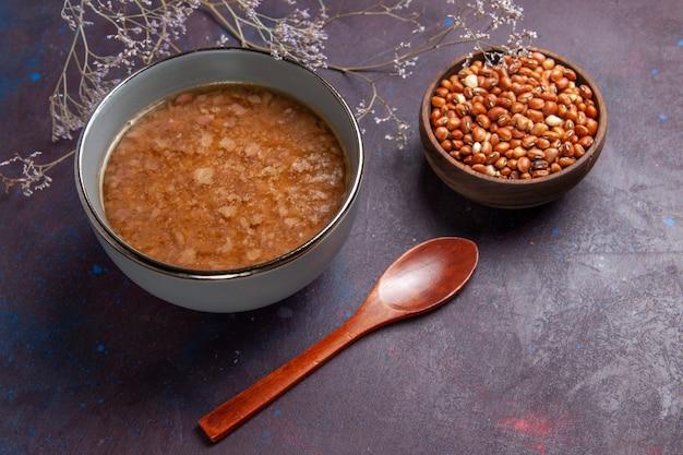 어두운 표면 수프 야채 식사 음식 부엌 콩에 콩 상위 뷰 갈색 수프