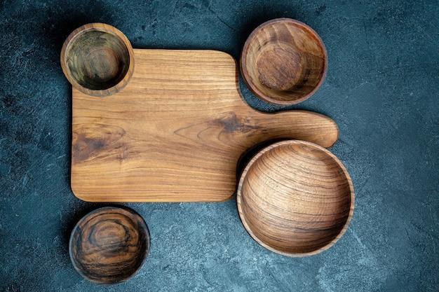 Top view brown wooden desk
