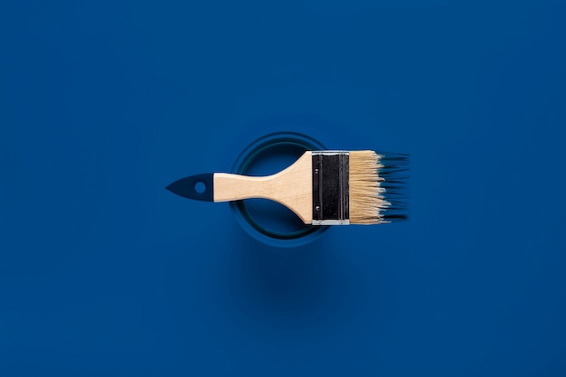 Top view brush on paint can