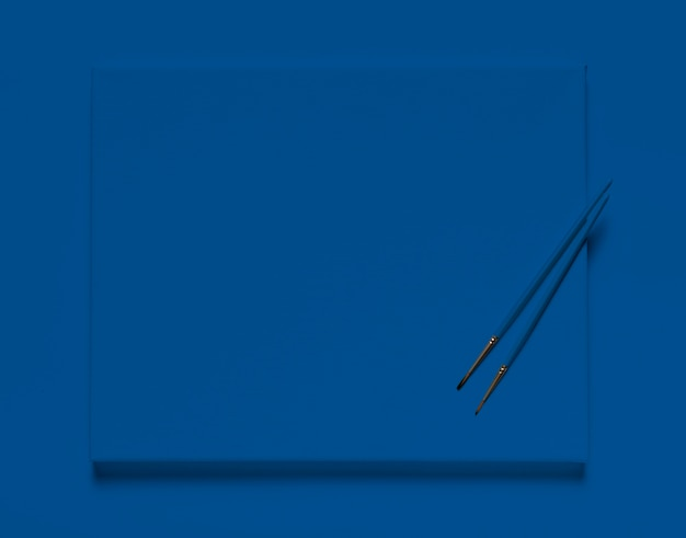 Top view brushes on classic blue canvas