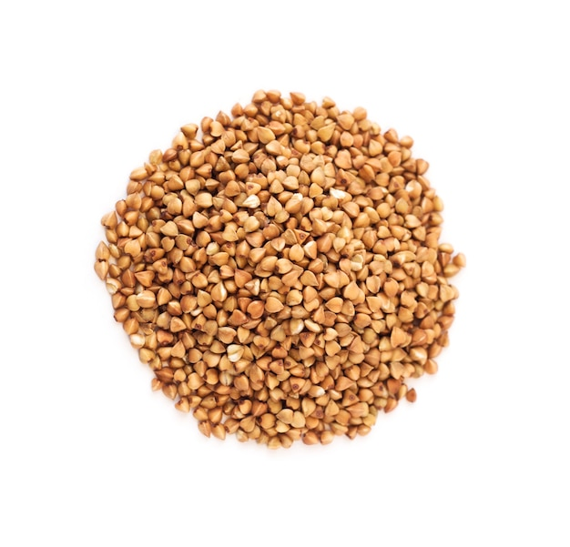 Top view of buckwheat groats isolated on white background. healthy food ingredient