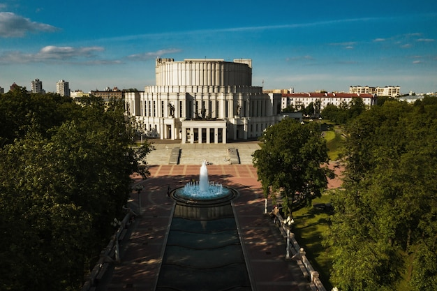 Top view of the building of the bolshoi opera and ballet theater and park in minsk.public building.belarus