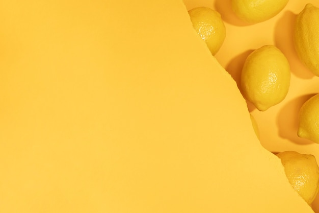Top view bunch of lemons with copy space