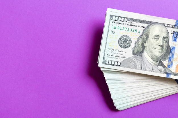 Top view of bundle of 100 dollar bill