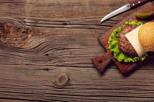 Top view burger ingredients on cutting board