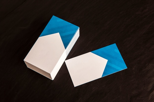 Макет визитной карточки с верхним видом
