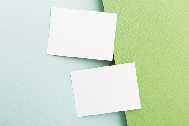 Top view business cards concept