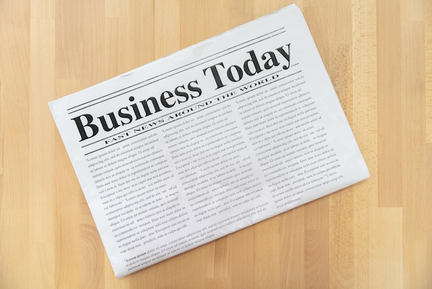 Top view of business newspaper
