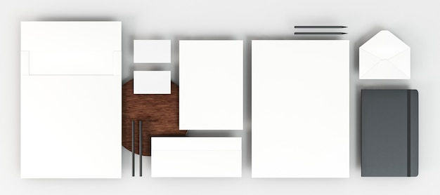 Top view business stationery arrangement copy space