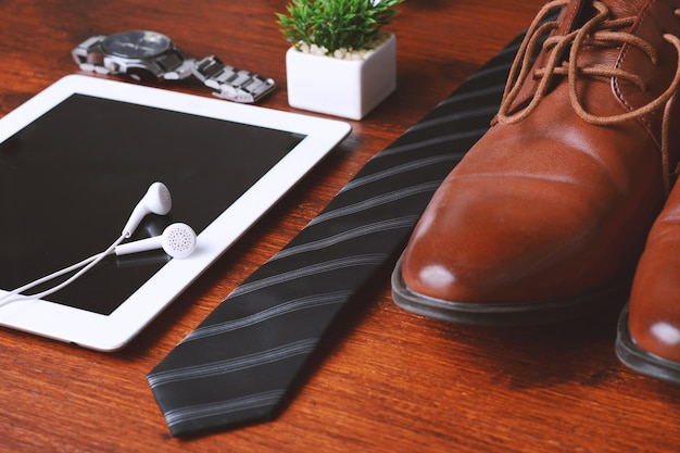 Top view of businessman objects and accessories