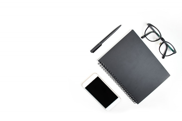 The top view of a businessman's accessories isolated background.