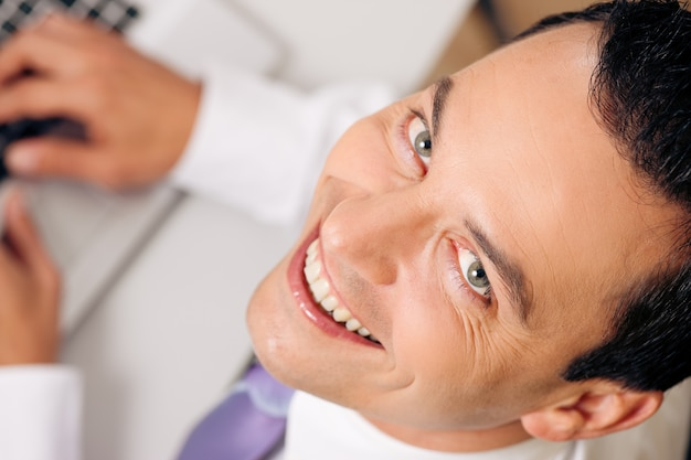 Top view businessman smiling