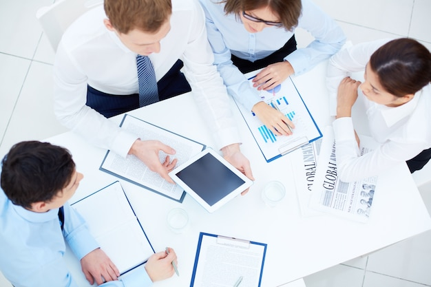 Top view of businesspeople paying attention