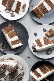 Vista dall'alto fette di torta