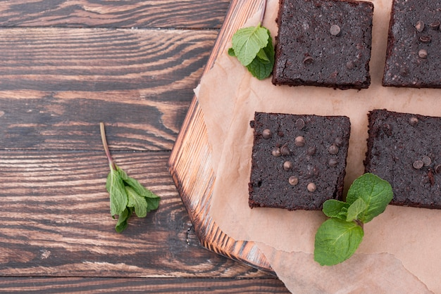 Top view of cake with mint