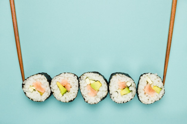 Top view of california rolls