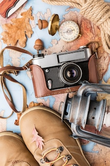 Top view of camera and autumn essentials