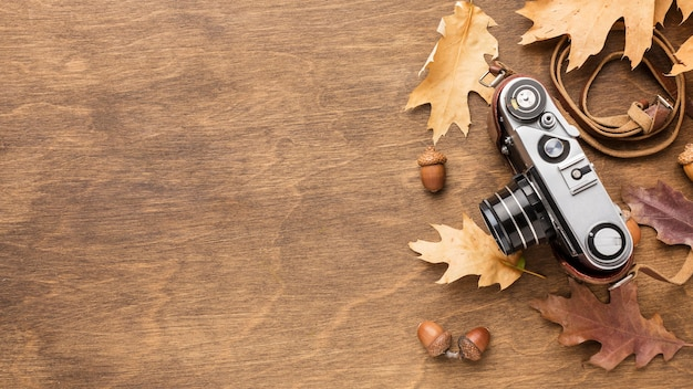 Top view of camera with autumn leaves and copy space