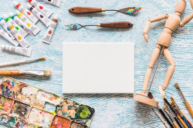 Top view canvas surrounded by painting material