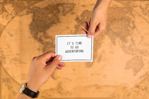 Top view card with positive message