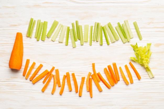 Top view carrot and celery arrangement