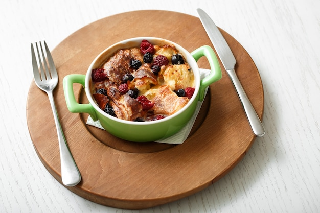 Top view casserole baked cherry and raspberries